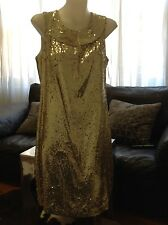 TORY BURCH GOLD SEQUIN DRESS KYLIE SIZE USA 6 BRAND NEW WITH TAGS