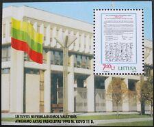 10th anniversaire de la restauration de l'indépendance stamp sheet, 2000, lituanie,