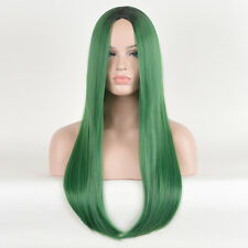 Kylie Jenner Styling Long Straight Wig Black Root Green Drag Queen Ombre Wigs