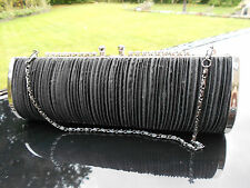 Black Evening bag with Pleated detail and Diamante Clasp detail New