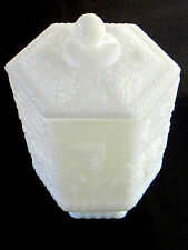 FIRE KING MILK GLASS - GRAPE VINE - FOOTED COOKIE / BISCUIT JAR