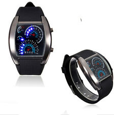 Black Stainless Steel Men's Fashion Sport Digital LED Date Analog Wrist Watch