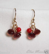 RED GARNET CORAL EARRINGS GEM STONE BERRIES 14k GOLD FILLED DANGLE PETITE