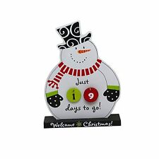 Snowman Countdown to Christmas Calendar Wooden NEW Desk Tabletop Holiday Decor