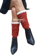 """AM Landen®Winter Knee-Highs Acrylic Knit with Studs Leg Warmers, 18"""" Brick RED"""