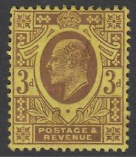 GB KEVII 3d SG234 Purple/Yellow Three Penny Edward VII Mint Hinged Stamp