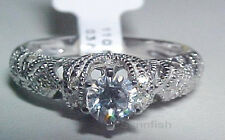 925 STUNNING STERLING SILVER ANTIQUE STYLE FILIGREE ENGAGEMENT RING SIZE 5