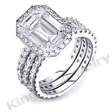 3.86 Ct. Emerald Cut Diamond Engagement Bridal Set
