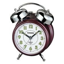 Casio TQ362-4B - Maroon/White Desk Top Bell Snooze Alarm Quartz Clock W/Battery