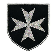 CROSS MALTESE CHRISTIAN SAINT JOHN KNIGHTS HOSPITALLER SILVER EMBROIDERED PATCH