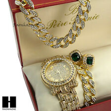 """Iced Out Pave Watch 30"""" Cuban Stone Chain Bracelet Emerald Earring Combo Set"""