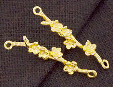 925 Sterling Silver 24k Gold Vermeil Style 2 Flower Branch Links,Connectors.