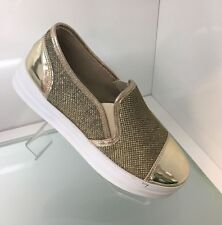 LADIES WOMENS GOLD GLITTER TRAINER LOAFERS PUMPS SNEAKERS SHOES FLAT HEEL SIZE 3