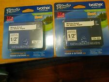 "Lot of 2 Brother TZe-231 1/2"" Label Tape Black Print on White SEALED PACKAGE NEW"
