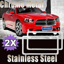 SLIM SILVER STAINLESS STEEL LICENSE PLATE FRAME SCREW CAPS /SLIM 2 HOLE BF 2PCS
