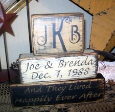 ~~PRIMITIVE CUSTOM FAMILY BLOCK SIGN~YEAR NAME~AND THEY LIVED HAPPILY EVER AFTER