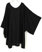 Kimono Sleeve PONCHO CAFTAN TUNIC TOP PLUS SIZE 5X 6X Solid Black Spun Rayon