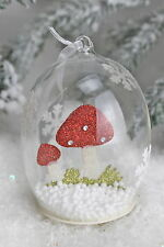 GISELA GRAHAM CHRISTMAS GLASS DOME WITH GLITTER TOADSTOOL SNOW DECORATION