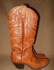 Dan Post Vintage Tall Leather Cowboy Boots Women's 6. Decorative Stitching.NiCe!