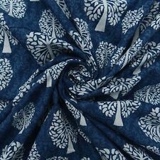 Hand Block Print Blue Fabric Cotton Cambric Material Craft Sewing By 1 Metre