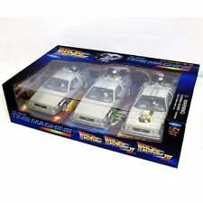 Welly 1:24 WL224003 BTTF Delorean coche Back To The Future 1, 2, 3 trilogía Set