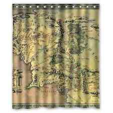 Bath Curtain Lord of the Rings Middle Earth Map 12 holes to which rings attach