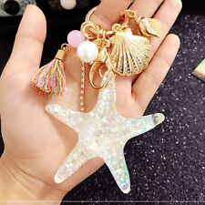 Fashion Starfish Shell Conch Pearl Crystal Car Handbag Key Keychain Keyring Gift