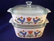 Corning Ware Country Festival 2 Casserole Dishes wLids USA Retro 1975 1 & 1.5 Qt
