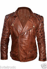 Mens Classic Diamond Quilted Biker Motorcycle Brando Brown Real Leather Jacket