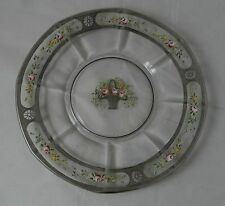 Sterling Silver Crystal Glass Hand Painted Flower Basket Cake Plate Art Deco