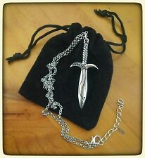 Silver Lord of The Rings The Hobbit Bilbo Baggins Sting Sword/Dagger Necklace