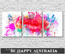 ABSTRACT WATERCOLOUR LIPS PRINTS STRETCHED CANVAS set of 3 each 40cmx50cmx4cm