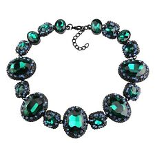 NEW BEAUTIFUL ZARA GREEN BLUE FACETED SPARKLING STONES STATEMENT NECKLACE