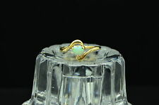 14K YELLOW GOLD HEART SHAPED WHITE OPAL SOLITAIRE RING BAND SIZE 8 #14-0569