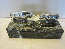 Stock Market Wall Street Bull & Bear Desk BOX MARBLE & CHROME sculpture figurine