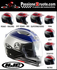 Casco modulare Integrale Jet Motard Hjc Is-multi Tociti bianco blu Mc2