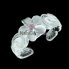 Hawaiian 925 Sterling Silver Scrolling Design 8mm Plumeria Toe Ring Pink CZ