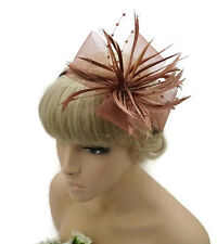 Stunning Nude Brown Fascinator On a Headband Mesh Net Bow and Pearlised Beads