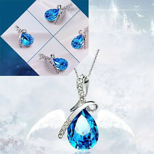 3Pcs Vogue Jewelry Blue Swarovski Crystal Angel Tear Drop Water Pendant Necklace