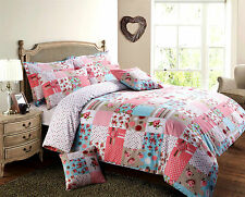 Patchwork Vintage Floral  / Duvet Quilt Cover Bedding Set / Red / Blue / Pink