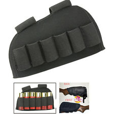 Tactical Rifle Shotgun Stock Ammo Pouch Carrier 6 Round Bullet Shell Holder BK