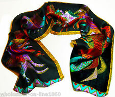 New 100% Silk Abstract Animal Horse Print Stole Neck Long Scarf Shawl Wrap Black