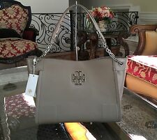 NWT $495 TORY BURCH BRITTEN PATENT CHAIN-SHOULDER SLOUCHY TOTE IN FRENCH GRAY