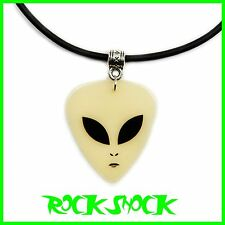 Alien GLOW IN THE DARK Guitar Pick Necklace Pendant Plectrum Space UFO Sci-Fi