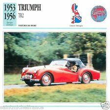 TRIUMPH TR 2 1953 1956 CAR VOITURE Great Britain GRANDE BRETAGNE CARD FICHE