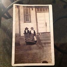Vintage Antique Small Photo US Star Flag Two Women House Porch
