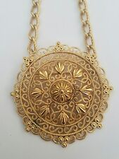 Crown Trifari Gold Plated Pendant Brooch Etruscan Revival Necklace