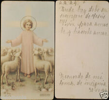 OLD BLESSED CHILD JESUS AND SHEEP HOLY CARD YEAR 1944 ANDACHTSBILD SANTINI CC614