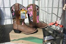 40-94 New Smoky Mountain Youth Mesa 5D western boots Pink Camo