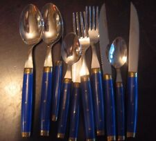 10 pc DONNIERS France Vtg FLATWARE Blue Handles 4 Knives 2 Forks Teaspoons Soup